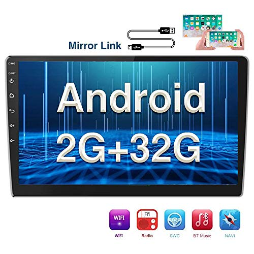 [2G+32G] Hikity Android Double Din Car Stereo 9 Inch Touch Screen Radio Bluetooth FM Radio Support WiFi Connect GPS Mirror Link for Android/iOS Phone with Dual USB Input + Backup Camera In-Dash Navigation