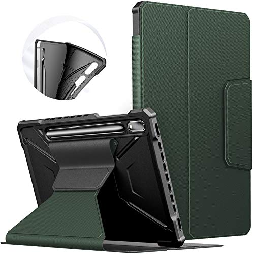INFILAND Case for Samsung Galaxy Tab S7 11 2020, Front Support TPU Cover with Multi-angle Viewing for Samsung Galaxy Tab S7 11 inch (SM-T870/T875) 2020, Auto Sleep/Wake,Dark Green