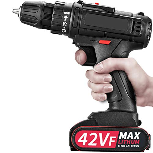 Compact Power Drill, Cordless Driver with Varible Speed/Forward/Reverse Switching Self-Locking Chuck 3/8' 25+1 Torque Adjustment, Electric Screwdriver, for DIY, Drilling, Screwing,1 Battery