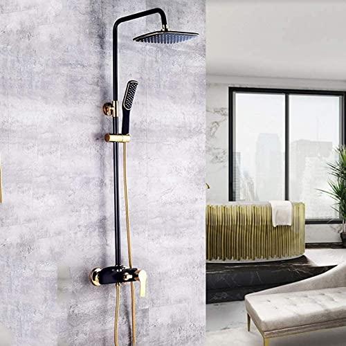 Set doccia moderno per bagno Ottone Nero Oro Quadrato Top Spray Sistema di doccetta girevole a 360° 3 funzioni Ugello rubinetto pressurizzato Aumento del prezzo Acqua calda e fredda Bello pratico
