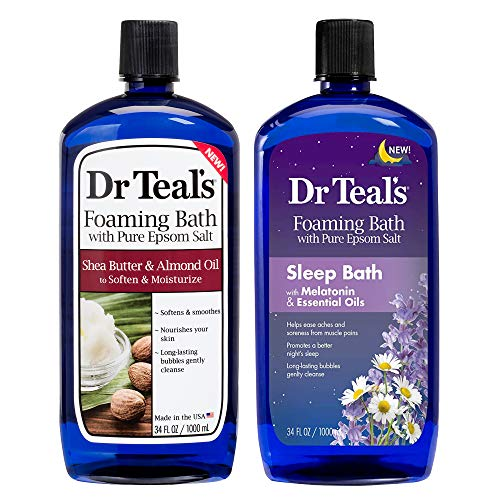 Dr Teal's Foaming Bath Combo Pack (68 fl oz Total), Moisturizing Shea Butter & Almond Oil, and Melatonin Sleep Bath