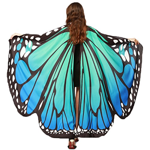 """Christmas Party Soft Fabric Butterfly Wings Shawl Fairy Ladies Nymph Pixie Costume Accessory ((L) 168cm(W) 135cm/ 66"""" 53"""", Blue Green)"""
