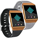 Tobfit Compatible with Fitbit Ionic Bands, Soft TPU Sport Arm Wristband Accessories for Women Men, Large, Black, Gray