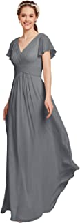 Chiffon Bridesmaid Dress with Sleeves Wedding Maxi Evening Party Dresses Long Plus Size Mother of The Bride Dresses