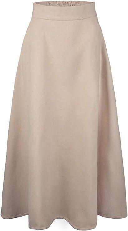 1940s Teenage Fashion: Girls Choies Womens High Waist A-line Flared Long Skirt Winter Fall Midi Skirt  AT vintagedancer.com