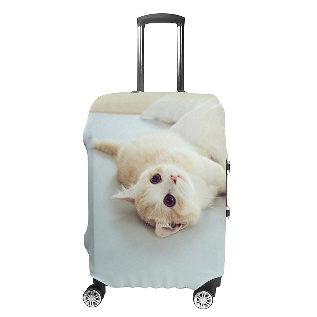 虫ドラゴン勇気のあるスーツケース カバー かわいい猫 ねこ 伸縮素材 カバー キズから保護 洗える おしゃれ かわいい 人気 旅行 海外 便利 防塵カバー 汚れ 傷防止 防水 盗難 旅行 出張 荷物カバー キッズ 大人 スーツケース保護カバー 便利 おしゃれ S M L XL
