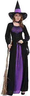 Halloween Women Black Purple Witch Dress Sorceress Cosplay Adult Halloween Party Costume,XL