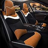 Cubierta de asiento de automóvil conjunto completo, almohadilla de asiento de vellón corto de invierno Cubierta de 4 piezas Set Universal Car Asiento de asiento Cojín,A