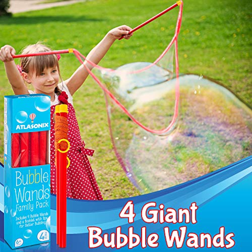 Atlasonix Big Bubble Wands for Giant Bubbles, 4-Pack   Super Bubble Maker for Birthdays and Family Fun   Outdoor Bubble Toy for Girls and Boys (4 Big Wands)