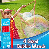 Atlasonix Big Bubble Wands for Giant Bubbles, 4-Pack | Super Bubble Maker for Birthdays and Family Fun | Outdoor Bubble Toy for Girls and Boys (4 Big Wands)