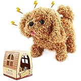 Nuheby Perros Interactivos de Juguete, Perritos de Juguete Que Anda y Ladra Marrón de Juguete de Felpa Regalos para Niños de 3 Años