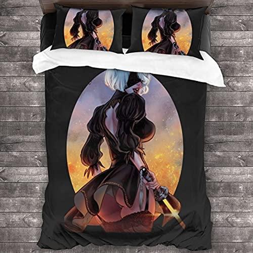 YOMOCO NieR:Automata - Juego de ropa de cama con diseño de espada y guerrera femenina, juego de ropa de cama para adolescentes (NieR-3,220 x 240 cm + 80 x 80 cm x 2)
