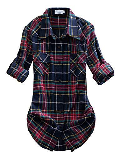 Matchstick Damen Flanell Kariert Shirt #B003(2021 Checks#10,X-Large(Fit 40''-42''))