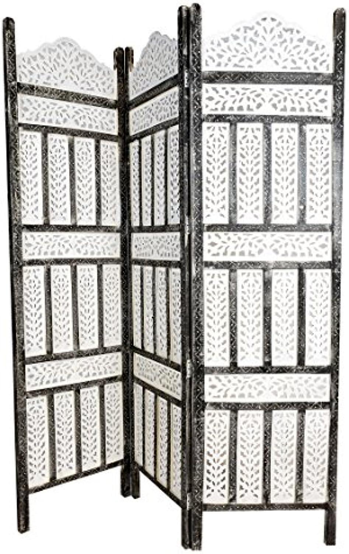 Orientalischer Paravent Raumteiler aus Holz Pratap 150 x 180cm hoch in Weiss  Indischer Trennwand als Raumtrenner oder Dekoration im Zimmer oder Sichtschutz im Garten, Terrasse oder Balkon