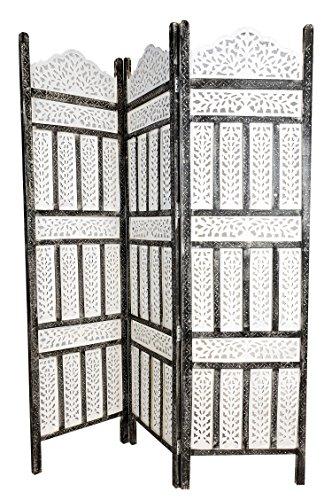 Orientalischer Paravent Raumteiler aus Holz Pratap 150 x 180cm hoch in Weiss | Indischer Trennwand als Raumtrenner oder Dekoration im Zimmer oder Sichtschutz im Garten, Terrasse oder Balkon