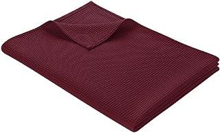 WOHNWOHL katoenen deken l wafelpique lichte knuffeldeken van 100% katoen | luchtige sofadeken veelzijdig inzetbaar | onder...