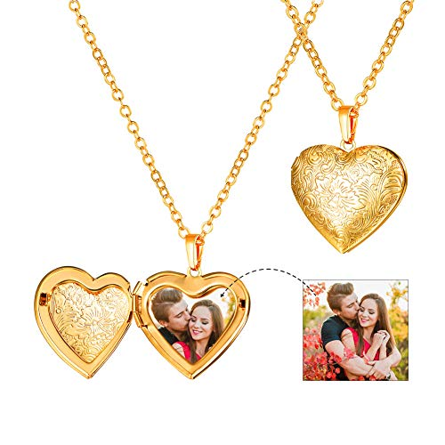 Necklace For Women 18K Gold Plated Full Flower Relievo Pattern Heart Locket Pendant & 20' Rolo Chain, Photo Frame Memory Romantic Love Present For Wife Vintage Women Jewellery Locket Neck Chain Gold