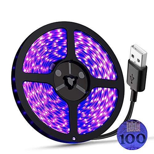Tira de luz UV LED LED negro DC5V 390nm-400nm 6.56FT/2M SMD 3528 120LEDs IP65 impermeable súper brillante tira de luces LED para baile fluorescente fiesta pintura corporal escenario iluminación