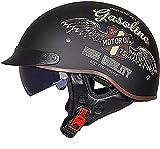 Medio casco de motocicleta, aprobado por DOT/EECE con visera solar para motocicleta, ciclomotor, Chopper Bobber, casco retro de perfil vintage para hombres y mujeres (color: A)