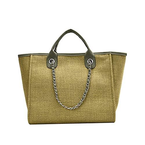 ruijiu Handtasche Leinwand Mode Einfache Handtasche Komfortable Reine Farbe Handtasche Große Kapazität Handtasche-Grün