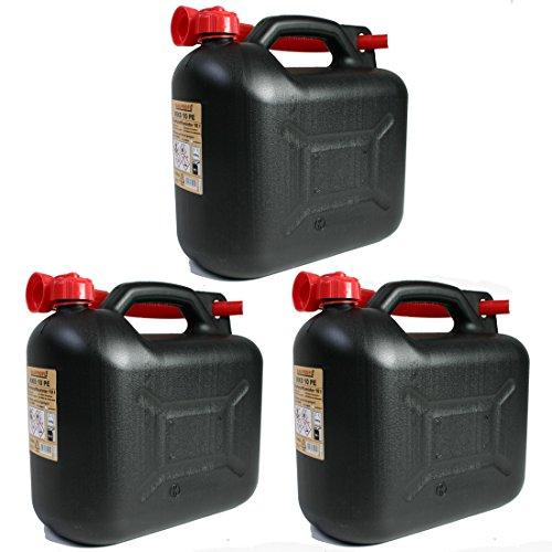 BAUPROFI 3er Set: 3X Benzinkanister 10 Liter schwarz KKS 10 PE Reservekanister