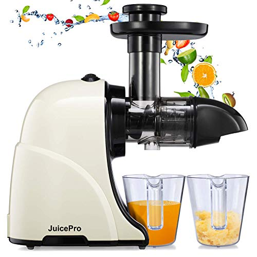 Masticating Juicer Machines, JuicePro Slow Cold Press Juicer Quiet Motor, Reverse Function, High Yield Juice Extractor with Brush for Fruits and Vegetables, Easy to Clean, BPA-Free