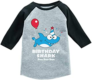 Tstars Birthday Shark Doo doo Song Funny Gift 3/4 Sleeve Baseball Jersey Toddler Shirt
