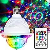Luces Discoteca Giratoria, LETOUR Bola LED de Discoteca, conector de rosca con altavoz Bluetooth activado E26/E27 Distancia por sonido RGB discoteca, Fiesta