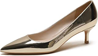 CAMSSOO Womens Low Heel D'Orsay Slip On Pointed Toe Dress Pumps Shoes