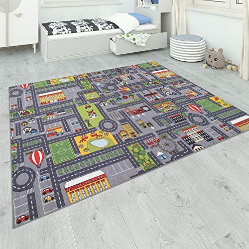 Paco Home Tapis De Jeu Chambre Enfant Gris Routes Filles Garçons, Dimension:200x290 cm, Couleur:Gris 3