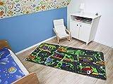 Spielteppich Autoteppich Straßenteppich City - 95x200 cm, Anti-Schmutz-Schicht, Auto-Spielteppich für Mädchen & Jungen, Kinderteppich Strasse Fußbodenheizung geeignet - 4