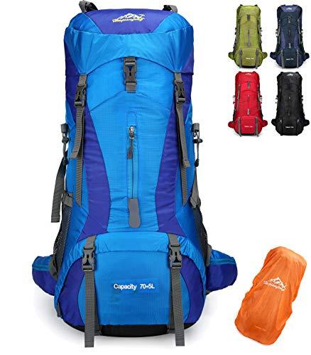 Doshwin 70L Rucksack Campingrucksack Trekkingrucksack Wanderrucksack Reiserucksack (mit Regenschutz) (Blau)