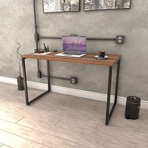 Mesa para Escritório Office Estilo Industrial 120cm Kuadra Compace Nogal