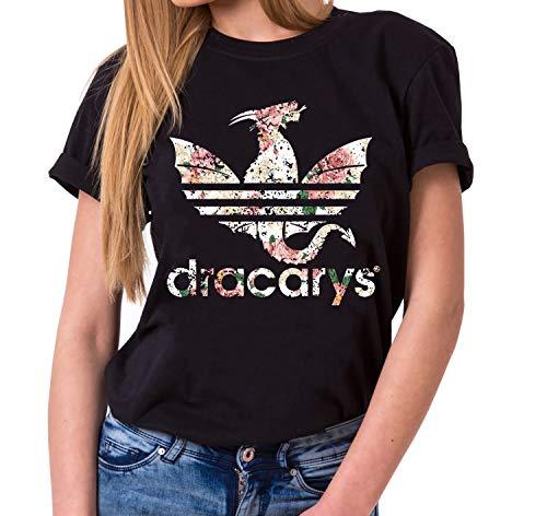 Dracarys Valentin - Camiseta para Mujer de Cuello Redondo Targaryen Thrones Game of Stark Lannister Baratheon Daenerys Khaleesi TV BLU-Ray DVD, Farbe2:Negro, Größe2:Medium