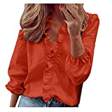 Women Ruffle Long Sleeve Tops Daily Casual Full Sleeve V-Neck Tunic Blouse Solid Color Plus Size Ladies Clothing Shirts Orange
