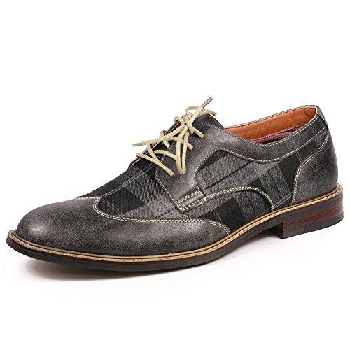 Metrocharm MET525-1 Men's Plaid Lace Up Wing Tip Classic Oxford Dress Shoes (12, Gray / Black)