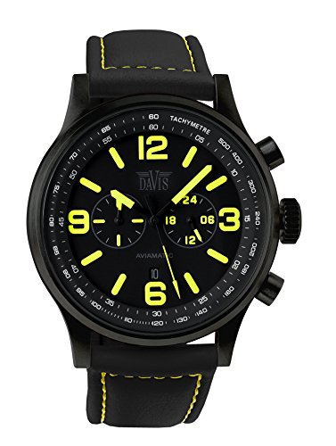 Davis 1840 - Herren Militär Uhr Gelb Chronograph Wasserdicht 50M Ziffernblatt Schwarz Datum Lorica Armband Schwarz
