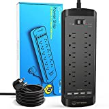 Power Strip with USB (4360 Joules), Witeem 12 Outlets Surge Protector and 4 USB Charging Ports (5V/3.4A), Flat Plug, 1875W/15A, 6 Feet Heavy Duty Extension Cord, ETL Listed, Black