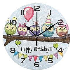 Dozili Retro Animal Owl Bird Decorative Wooden Round Wall Clock Arabic Numerals Design Non Ticking Wall Clock Large for Bedrooms, Living Room, Bathroom