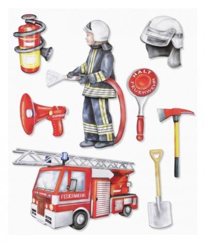 Stickerkoenig Wandtattoo 3D Sticker für Kinderzimmer XXL Set - Feuerwehr, Feuerwehrwagen für Wände, Schränke etc