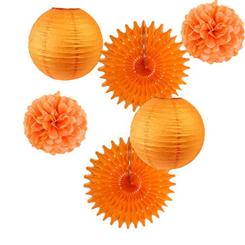 6er Set Papier Laternen Orange Pom Poms Rosetten Party Deko (Orange)