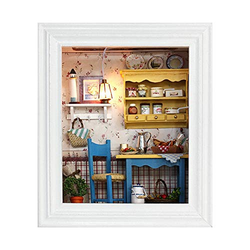Jadpes DIY Puppenhaus, DIY Puppenhaus Bilderrahmen Design Mini Haus Kit mit Möbel Geburtstagsgeschenke Home Decoration Plus Staubdicht und Musik Bewegung