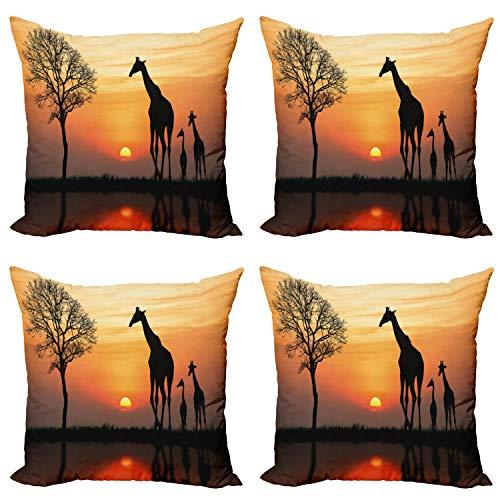 ABAKUHAUS Animal Set de 4 Fundas para Cojín, Jirafa en el Bosque Salvaje, Estampado Digital en Ambos Lados y Cremallera, 40 cm x 40 cm, Naranja Negro