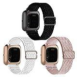 DJDLOK 3 Paquete Bandas de Reloj elástico compatibles con Fitbit Versa/Versa 2 / Versa Lite/Versa SE Pulsera Deportiva de Nylon Ajustable (Color : 1, Size : For Versa 2/Lite/SE)