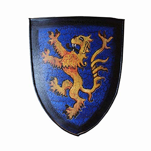 Keliour Knight Shield Wall Plaque Mittelalter Blue Lion Shield Skulptur der Wand 46 x 60 cm in kaltem Wetter aus Blech Gear Mittelalter (Farbe: Blau, Größe: 46 x 60 cm)