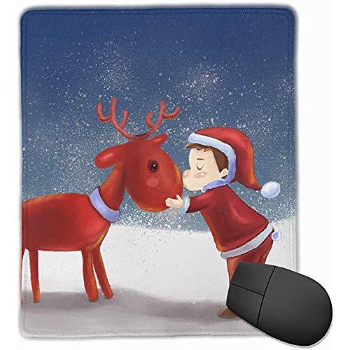 Office muismat jongen kus kerst hert rechthoek rubber muismat 30 * 25 * 0,3 cm Gaming muismat met zwart slot rand