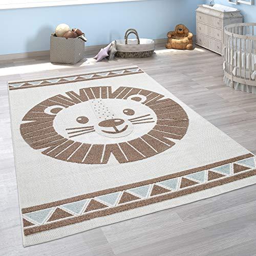 Paco Home Alfombra Infantil Habitación Infantil Exterior Juego Motivos Animales 3D, tamaño:140x200 cm, Color:Beisbolario
