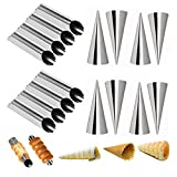 Set of 16 Stainless Steel Cannoli Tubes and Pastry Cream Horn Molds,Large Size DIY Baking Kit Cone Tubular Shaped Mold Tool for Croissant Waffle Cream Roll (A+B)