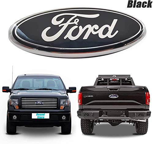 9inch Ford F150 Emblem Front Grille Tailgate Emblem Oval 9'X3.5' Decal Badge Nameplate Fit FORD 2004-2014 F250 F350, 11-14 Edge, 11-16 Explorer, 06-11 Ranger (Black)