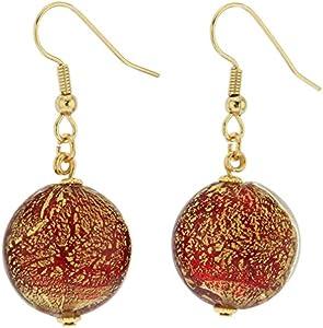 GlassOfVenice Pendientes de cristal de Murano Ca D'Oro - Rojo rubí